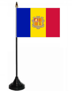Andorra Desk / Table Flag with plastic stand and base.